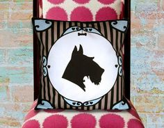 "Dog Silhouette Pillow - Schnauzer Silhouette pillow of a Schnauzer silhouette with a Victorian border  printed on upholstery weight cotton. $37.00 - 15""x 15"""