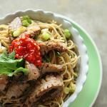 These fried ginger scallion #noodles with spicy #beef sound pretty good