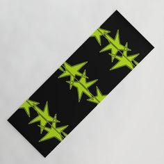 Strings of Stars - Black and Green Yoga Mat
