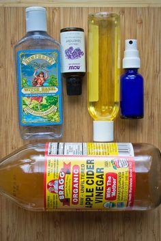 DIY acne fighting toner     1 Tbs Bragg's Apple Cider Vinegar     1 Tbs Witch Hazel     10 drops Lavender Essential Oil     5 drops Jojoba Oil