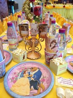 Decorated table at a Beauty and the Beast Party. You can find more party ideas at CatchMy Beauty And Beast Birthday, Beauty And The Beast Theme, Princess Belle Party, Disney Princess Birthday, 4th Birthday Parties, Birthday Table, 5th Birthday, Birthday Ideas, First Birthdays