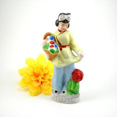 "Vintage Figurine Japanese Woman with Basket of Flowers 6"" Tall Made in Japan Collectible Figure Circa 1940-50s Oriental Lady"