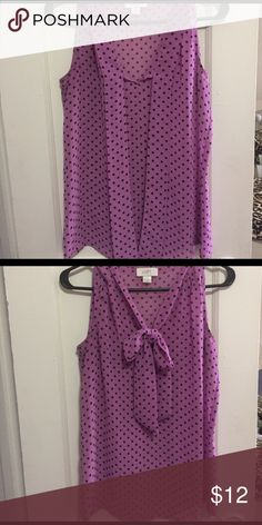 Loft tank top Purple/pink with black polka dots and bow tie LOFT Tops Tank Tops