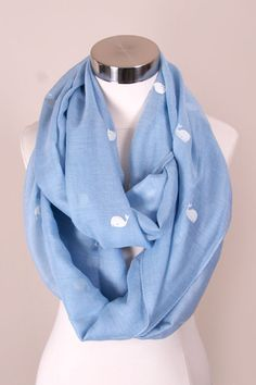 Whale Of A Tale Infinity Scarf. Available in aqua, coral, mint, and white. #May23Online