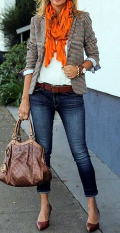 Gorgeous casual or business casual blazer outfit for fall with a great orange scarf and simple brown flats. Gorgeous casual or business casual blazer outfit for fall with a great orange scarf and simple brown flats. Look Fashion, Autumn Fashion, Trendy Fashion, Fashion Ideas, Ladies Fashion, Fashion Trends, Womans Fashion Over 40, Fashion 2017, Fall Fashion Women