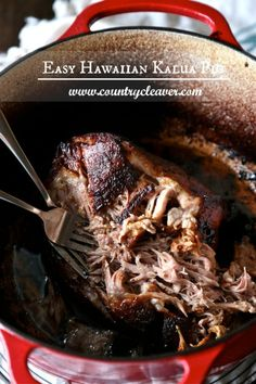 Easy Hawaiian Kalua Pig - www.countrycleaver.com No Smoke Pit Required, just a dutch oven at home! This is the ultimate for your game day feast!