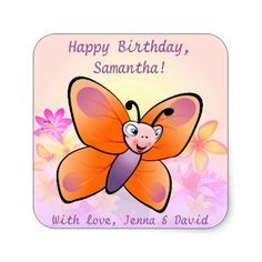 #flower - #Cute Butterfly With Colorful Flowers Square Sticker