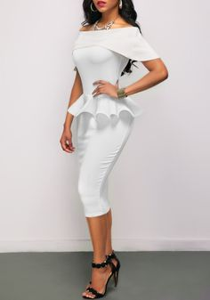 Boat Neck Fold Over Flouncing White Sheath Dress Sexy Dresses, Cute Dresses, Casual Dresses, Fashion Dresses, Fitted Dresses, Woman Dresses, White Dress Fall, White Sheath Dress, White Peplum