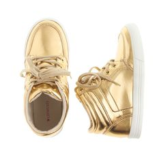 J.Crew girls' mirror metallic gold high-top sneakers.
