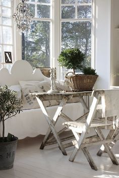 I Heart Shabby Chic: Vintage for the sun room Reminds me of my sunroom. I have an old table between a couch and a couchswing,...narrow space but oh so cozy~