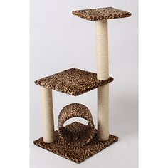 """Platform with Tunnel Cat Furniture 69.99 Provides a place to hide, perch and nap. Sisal posts for scratching. Size: 15.7"""" x 15.7"""" x 33.9"""""""