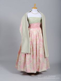 1970's Pink and Green Silk Taffeta Vintage Ball Gown