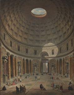 Giovanni Paolo Pannini: Interieur van het Pantheon in Rome ~ Schilderij ~ ca. 1750 ~ National Gallery of Art, Washington D. Rome Art, National Gallery, Italy Painting, Cleveland Museum Of Art, Cleveland Ohio, Grand Tour, Ancient Rome, Roman Empire, Ancient History