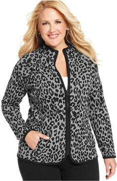 2d8e6af66e4 Jones New York Signature Plus Size Animal-Print Active Jacket