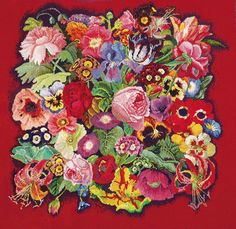 Kaffe Fassett's work never fails to inspire! These needlework flowers are featured in his biography Kaffe Fassett: Dreaming in Color