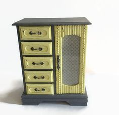 painted distressed gray and yellow jewelry box, shabby chic jewelry armoire