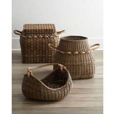 Add heavy roping to a basket to create an interesting handle.