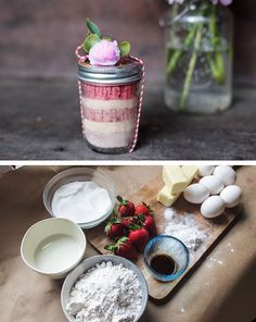 Peony-Topped Strawberry Mason Jar Cakes   DIY Christmas Gifts in a Jar Ideas   DIY Last Minute Christmas Gifts