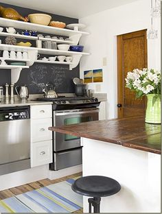 """I love this idea of the chalkboard backsplash but since I don't cook I'd have to just write speech bubbles instead like """"HI! I'm your stove! I'm hot!"""" and """"Hello there! I'm your toaster! I dehydrate your bread!"""" ... you know... cause my appliances talk like that."""