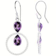 Orchid Jewelry Silver Plated 4ct. Pear-cut Amethyst Earrings