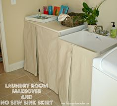 The Happier Homemaker: Laundry Room Makeover and No Sew Sink Skirt