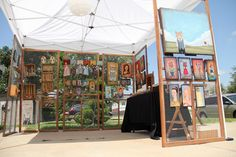 art or craft booth using screen doors and wire mesh