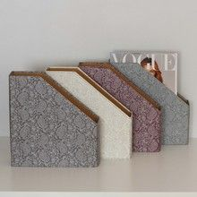 Our practical and stylish magazine files will brighten up any shelf or home office in these pretty paisley colours: Grey, Purple, Silver Blue and White. All our beautiful handmade stationery and storage products are produced in an eco-friendly way, from 100% recycled materials.