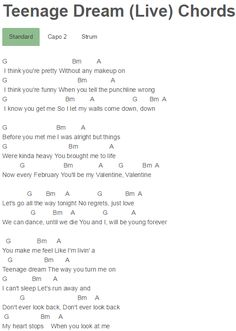 Teenage Dream (Live) Chords 5 Seconds Of Summer, LIVESOS