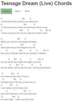 Teenage Dream (Live) Chords 5 Seconds Of Summer, LIVESOS