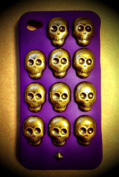 Skull studded iphone; purps 4/4s case by rocknrevelry on Etsy