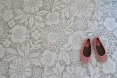 I could do this with those cheap plastic table covers! Lace Floor (painted w/ Royal Design Studio stencil) via The Design Files Stenciled Concrete Floor, Painted Concrete Floors, Painting Concrete, Concrete Staining, Plywood Floors, Concrete Lamp, Stamped Concrete, Concrete Countertops, Royal Design
