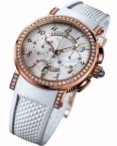 Breguet - Marine Lady 8828 Watch (women) A beautiful fusion of fine jewelry and sport, this watch features a mother-of-pearl dial a rose-gold-and-diamond bezel accented with a crisp white rubber strap. $37,400