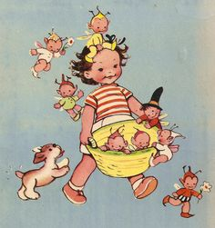 """""""Lucie Attwell's Annual"""" (back cover), Dean, undated. Illustrated by Mabel Lucie Attwell"""