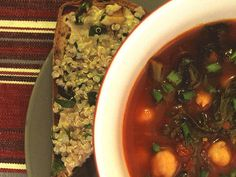 Spinach and Garbanzo Soup - love garbanzos, use the spinach and tomatoes from the garden