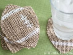 Holiday: Football Crafts: Burlap Burlap football coasters from Stitched by Crystal, Super Bowl. Football Banquet, Football Tailgate, Tailgating, Football Parties, Football Humor, Football Season, Football Food, Football Shirts, Football Names