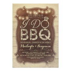 "Be stylish with these wooden rustic rehearsal dinner I DO BBQ invitations. Original, bold, shabby aged design and glowing string lights will make your guests wow. Perfect I DO Barbecue rehearsal dinner invitations for your backyard or garden party! Illustrated with unique typography where handwritten words - ""I DO"" has the unique letter ""O"" recreated to diamond wedding ring. #bbq #rehearsal #dinner #i #do #bbq #barbecue #rehearsal #dinner #barbeque #rehearsal #dinner #invite #backyard ..."