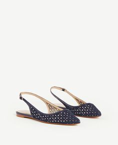 Marcy Lace Slingback Flats | Ann Taylor