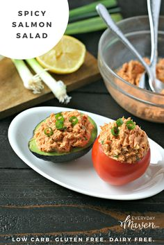 Low Carb and Naturally Gluten and Dairy Free, this Spicy Salmon is an easy, healthy and delicious way to transform canned Salmon! Canned Salmon Salad, Canned Salmon Recipes, Salmon Salad Recipes, Seafood Recipes, Fish Recipes, Seafood Meals, Seafood Dinner, Avocado Recipes, Salad Recipes Low Carb