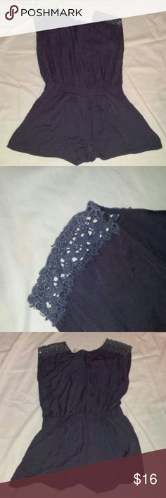 Pins and Needles Romper Blue V-neck Sleeveless Lace at top.of shoulders Pockets on front sides Zipper closure in back 100% Cotton Good preowned condition There aren't any holes, rips, stains nor tears Pins & Needles Shorts