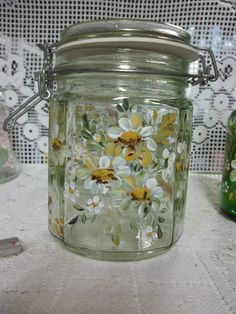 A Glass Storage Canister Jar Hand Painted by FolkArtByNancy, $28.00