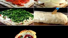 Three Cheese Broccoli Rabe, Prosciutto, Roasted Red Pepper Stromboli