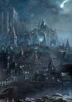 Irithyll of the Boreal Valley is official concept artwork for action role playing video game Dark Souls III, made by Japanese studio FromSoftware. Concept Art Landscape, Fantasy Concept Art, Fantasy Art Landscapes, Fantasy Landscape, Dark Fantasy Art, Fantasy Artwork, Dark Artwork, Landscape Art, Fantasy City