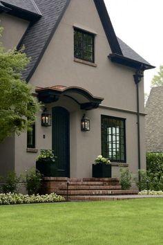 Stucco exterior Laurelhurst House Front Door - The body is color Benjamin Moore Shenandoah Taupe. Best Exterior Paint, Exterior Paint Colors For House, Exterior Siding, Paint Colors For Home, Exterior Design, Black Trim Exterior House, Exterior Windows, Door Design, Gray Exterior