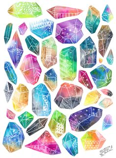 Healing crystals print from anavicky on Etsy Heilende Kristalle drucken von anavicky auf Etsy Healing crystals print from anavicky on Etsy Art And Illustration, Crystal Illustration, Crystal Drawing, Art Aquarelle, Arte Sketchbook, Watercolor Design, Watercolor Ideas, Watercolor Galaxy, Tattoo Watercolor