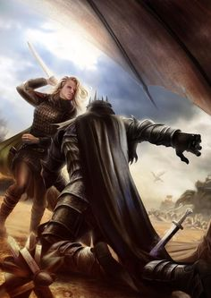 Eowyn in the midst of slaying the Nazgûl / Witch King of Angmar, in fine art, by The Art of Tiziano Baracchi.