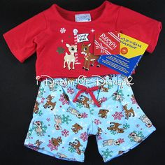 BUILD-A-BEAR RUDOLPH & CLARICE CHRISTMAS PAJAMA SET TEDDY CLOTHES NEW PJ'S #BuildABearWorkshop #Christmas