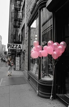 pink balloons color splash