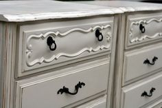 Shabby chic night tables distressed white by InspireMeDesigns