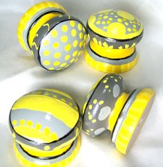 Dresser Knobs - Dresser Drawer Knobs - Sunshine Yellow and Grey ...