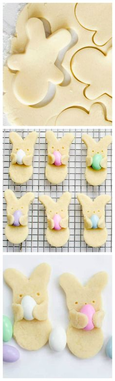 """Easter Bunny Cookies ~ Adorable Easter bunny cookies that look like they're carrying Easter eggs. Your favorite sugar cookie recipe, Jordan almonds, and a cookie cutter. cupcakes for kids Adorable Easter Bunny """"Hug"""" Cookies - Fun Loving Families Easter Cookies, Fun Cookies, Easter Treats, Holiday Cookies, Holiday Desserts, Holiday Baking, Holiday Treats, Holiday Recipes, Holiday Gifts"""